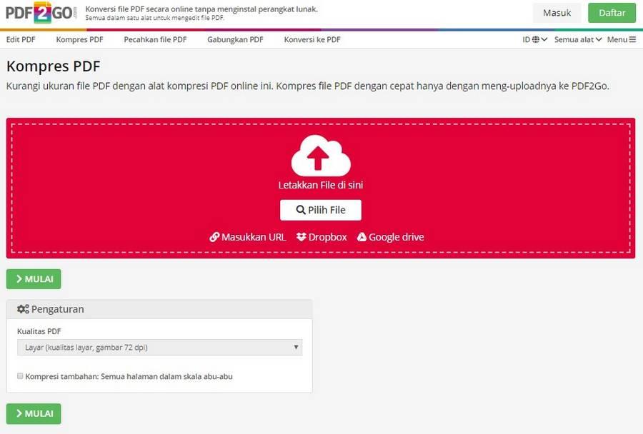 Cara Memperkecil Ukuran PDF Online Dengan pdf2go
