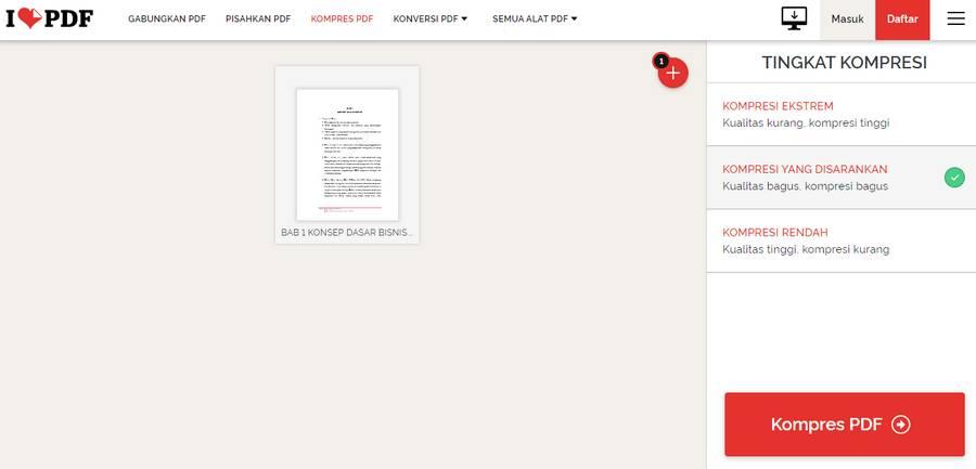 Cara Memperkecil Ukuran PDF Online Dengan ilovepdf