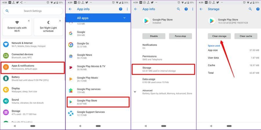 Cara Memperbarui Layanan Google Play Dengan Menghapus Data Play Store