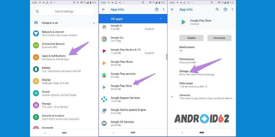 Cara mengaktifkan layanan Google Play dengan hapus cache