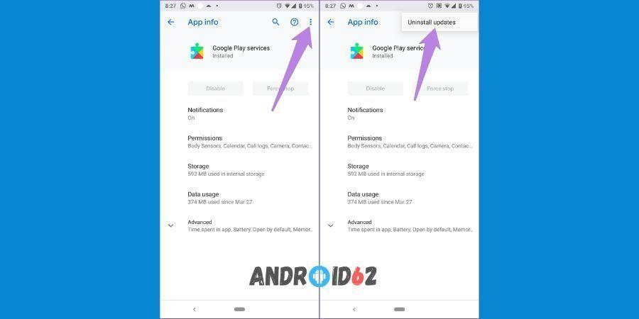 Cara mengaktifkan layanan Google Play dengan hapus update