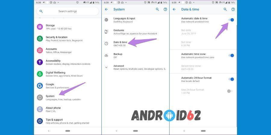 Cara mengaktifkan layanan Google Play dengan periksa tanggal dan waktu