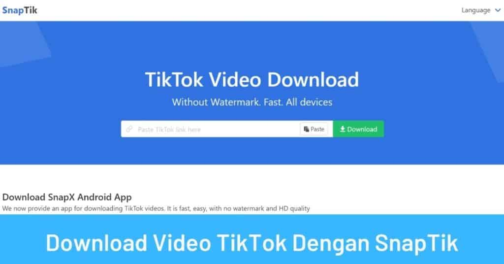 Download Video TikTok Dengan SnapTik